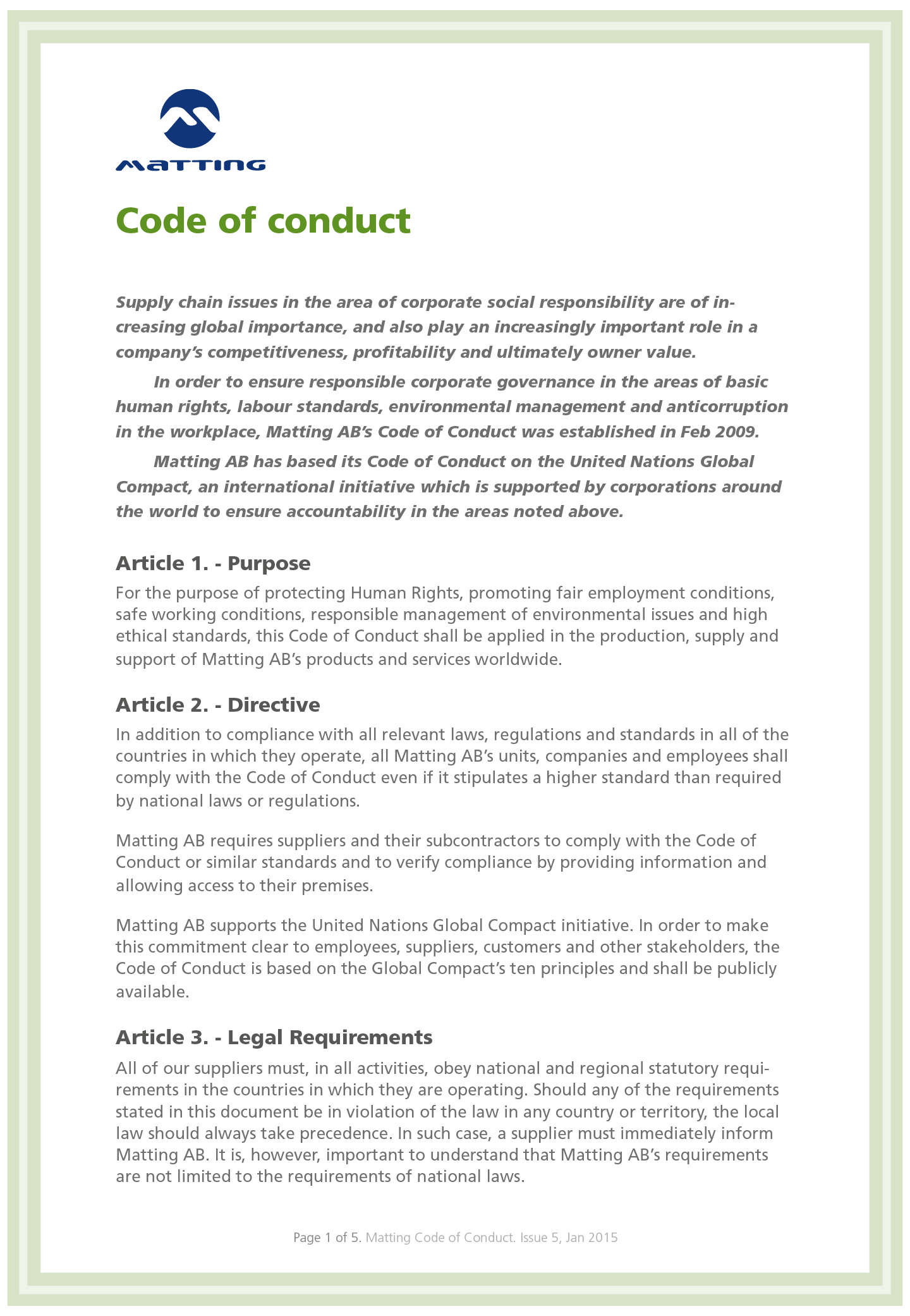 Matting AB Code of conduct