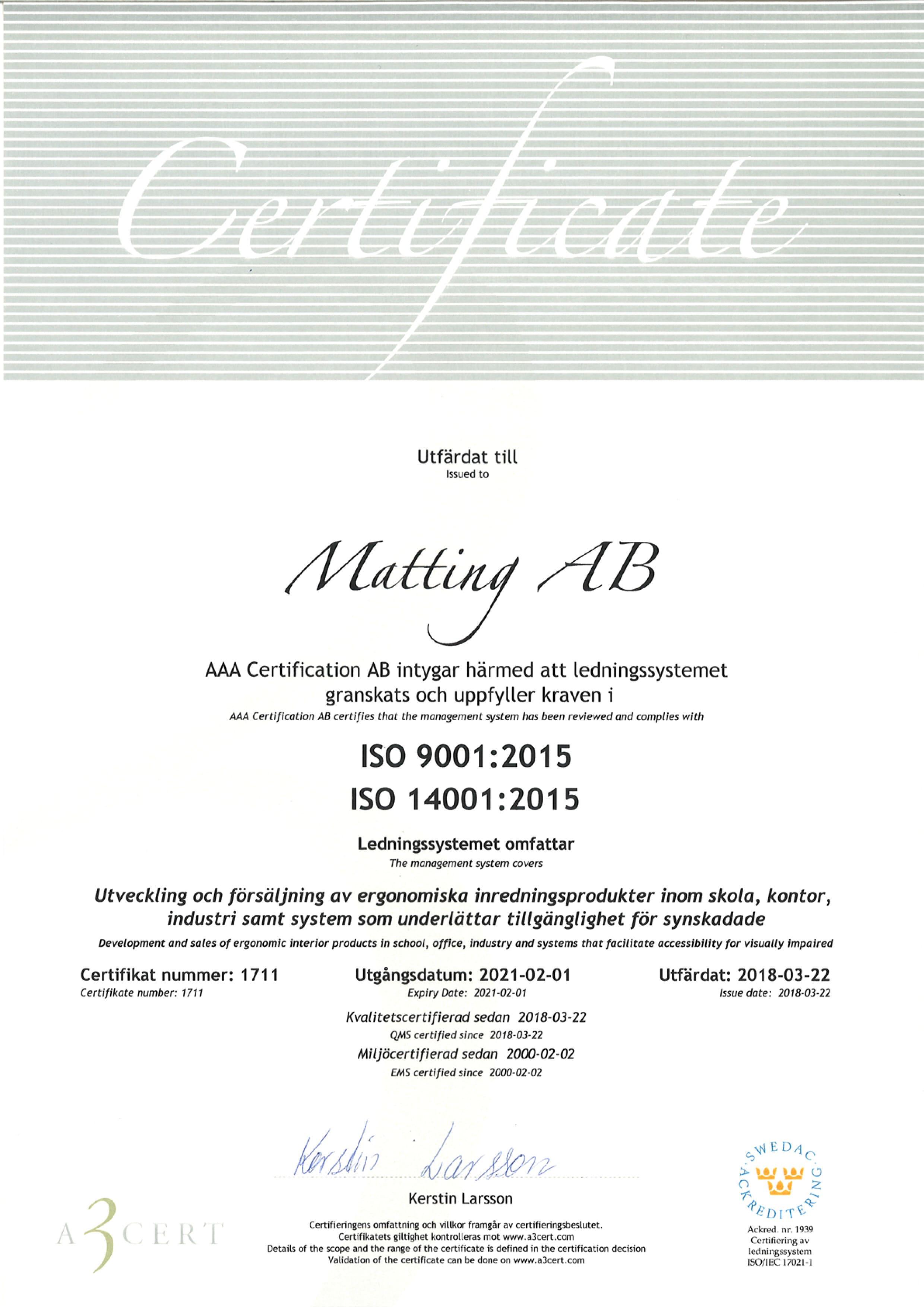 Matting AB ISO 9001, ISO 14001