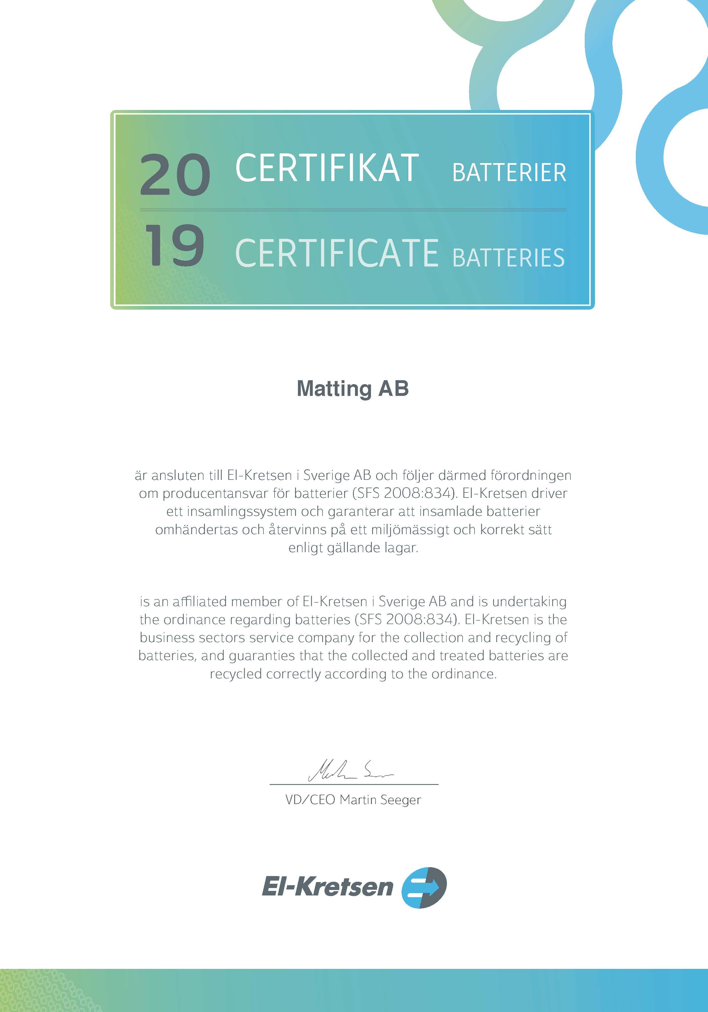 Certifikat batterier